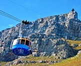 The cable car ascends to the top of Table Mountain.