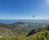 The cable car ascending to the top of Table Mountain in Cape Town.