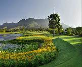The Fancourt golf courses are surrounded by the Outeniqua mountains.