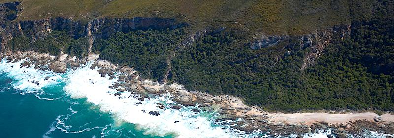 An aerial view of the majestic Garden Route coastline.