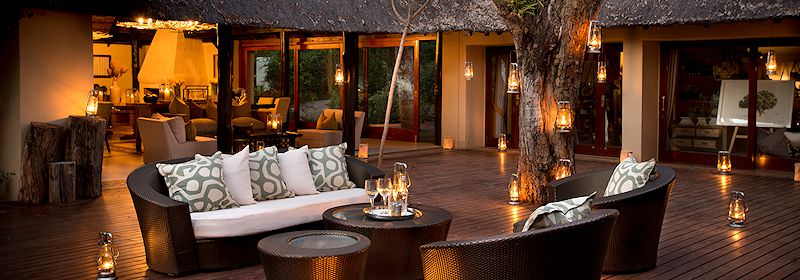 The stylish deck area at Lion Sands River Lodge.