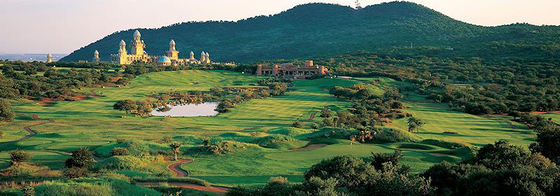 The Palace Hotel at Sun City overlooks the rambling Lost City Golf Course.