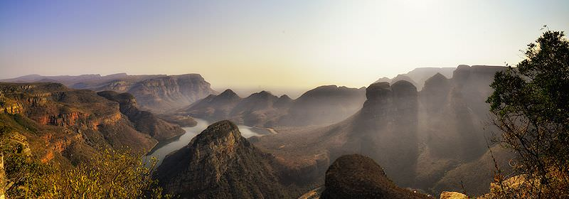 The Blyde River Canyon at sunset.