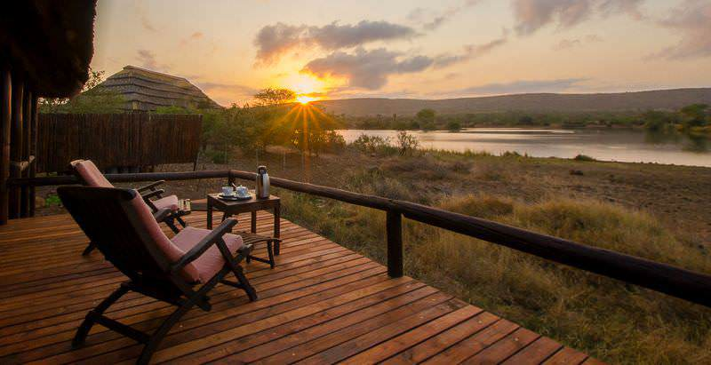 The private deck of a chalet at Camp Shawu which overlooks the Mpanamana Dam in the Kruger National Park.