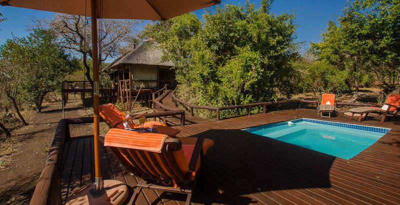 The pooldeck area at Camp Shonga in the Kruger National Park.