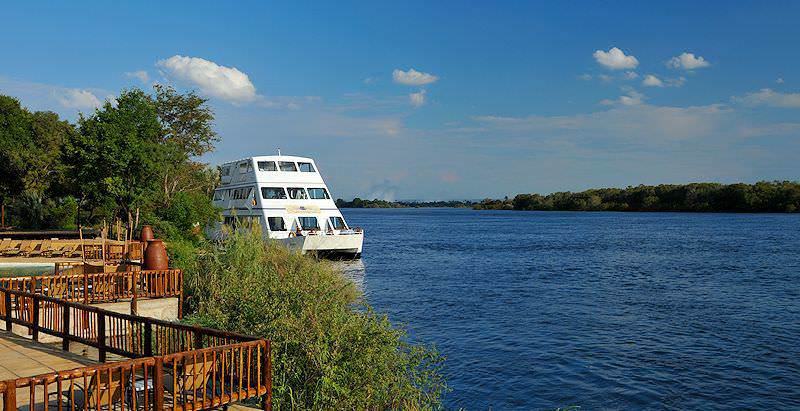 The David Livingstone Safari Lodge enjoys prime riverfront real estate on the Zambezi River.