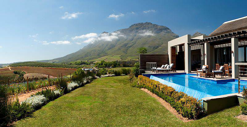 The pool area at Delaire Graff overlooks the esteemed estates of the Stellenbosch Wine Route.