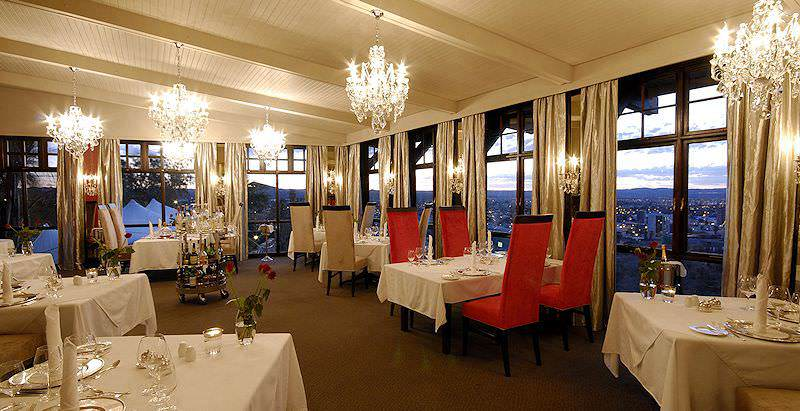 The extravagant dining room at Hotel Heinitzburg in Namibia's capital city of Windhoek.