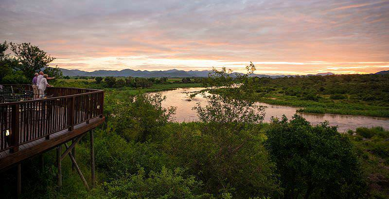 The expansive deck of Pestana Kruger Lodge overlooks the Crocodile River on the southern boundary of the Kruger National Park.