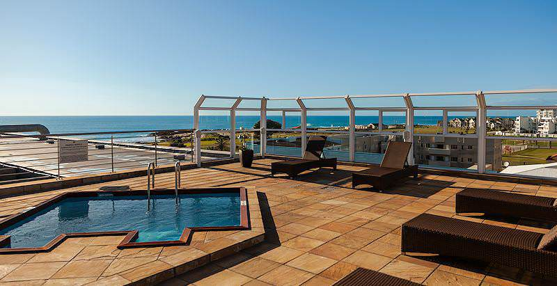 The rooftop pool at the Marine Hotel in Port Elizabeth, South Africa.