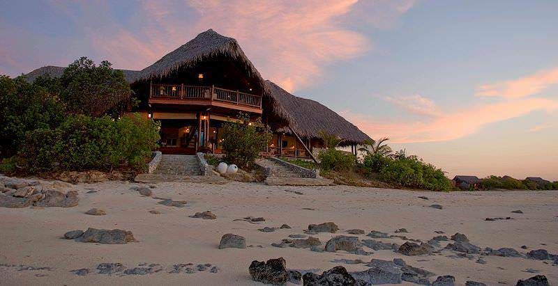The exterior of Medjumbe Island Lodge on a private islet in the Indian Ocean off the coast of Mozambique.