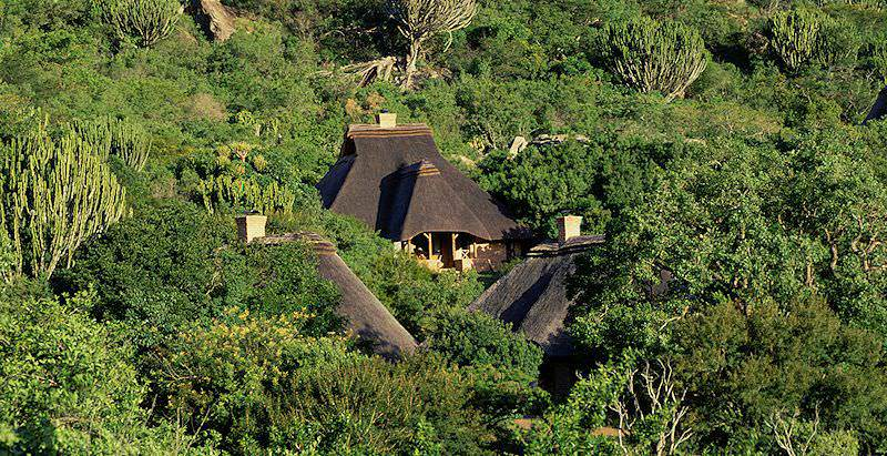 The handsomely thatched structures of Ntshondwe Camp in South Africa's Ithala Game Reserve.