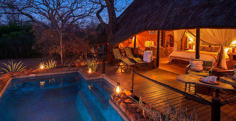 A sumptuous suite with a private plunge pool at Stanley Safari Lodge near the Victoria Falls.