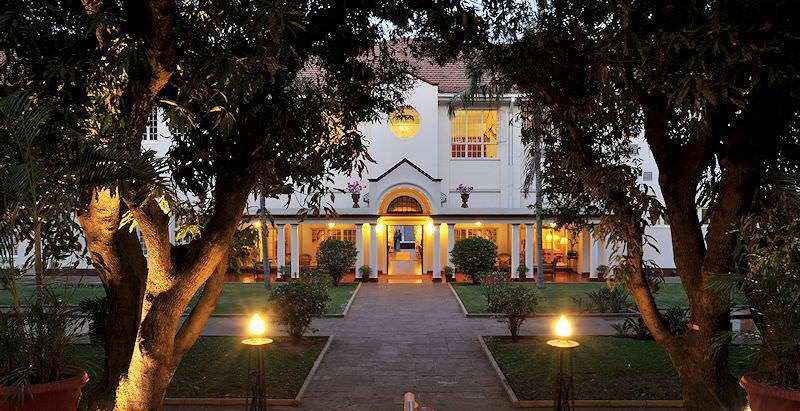 The exterior of the classical Edwardian-style Victoria Falls Hotel in Zimbabwe.