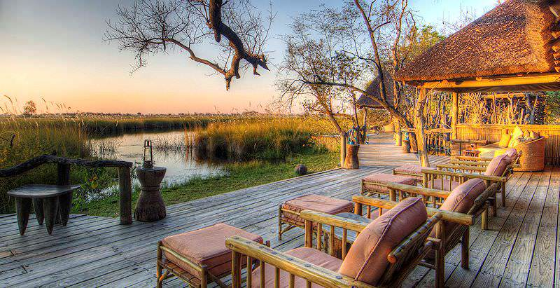 A deck with a striking view at Xakanaxa Camp in Botswana's incomparable Okavango Delta.