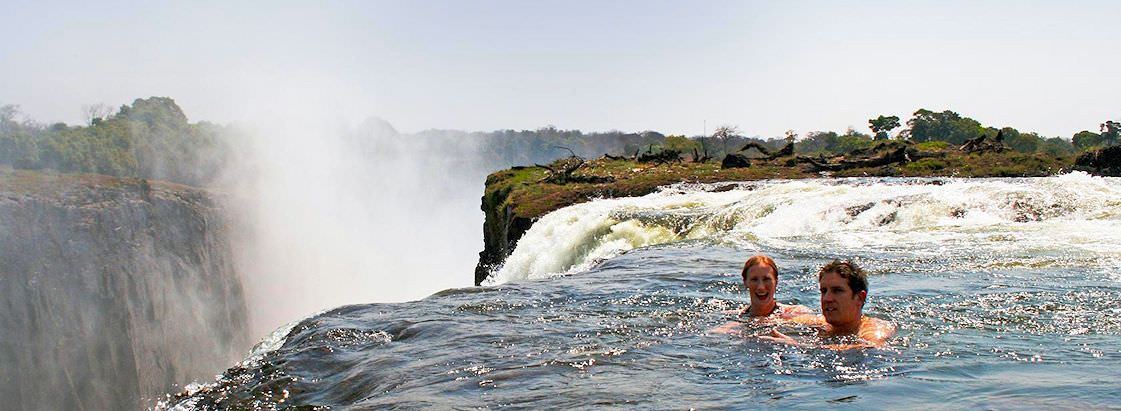 The serene pool at the rock lip of Victoria Falls known as 'Devil's Pool'.