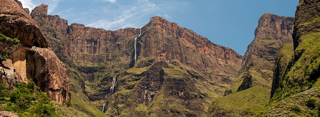 The remarkable drop of the Tugela Falls tucked away amidst the Drakensberg Mountains.