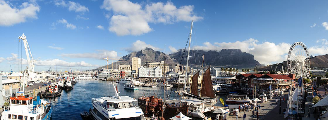 A panoramic view of the Victoria and Alfred Waterfront in Table Bay.