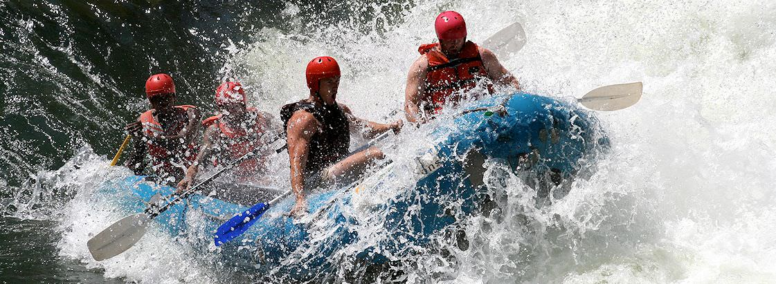 Rafters take on the formidable rapids of the Batoka Gorge.