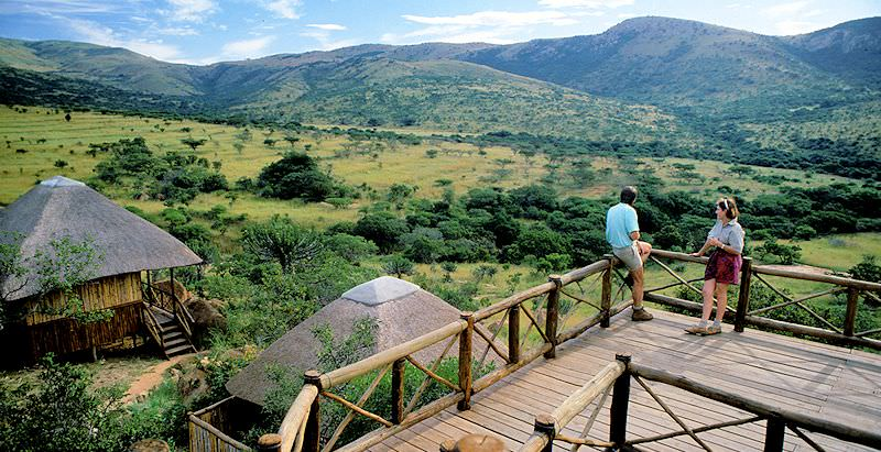 Guests at Ntshondwe Lodge look out over Ithala Game Reserve.
