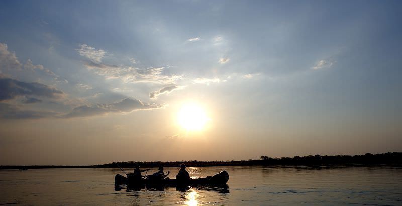 A mid-day kayaking adventure on the Zambezi River.
