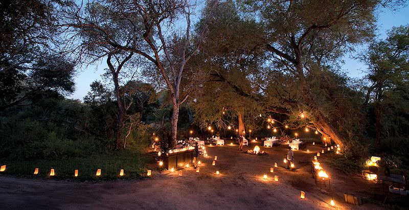 A boma evening at Lion Sands River Lodge in the Sabi Sand Private Game Reserve.
