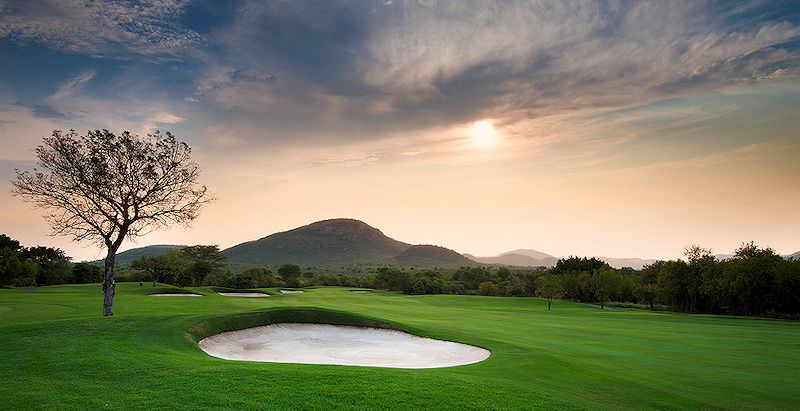 The immaculate greens of Leopard Creek Golf Course.