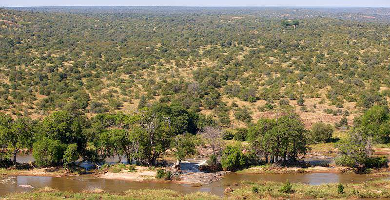 The view of the Olifants River from Olifants Rest Camp in the Kruger National Park.