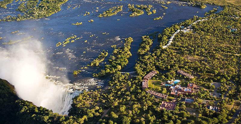 An aerial view of the Victoria Falls from the Livingstone side of the Zambezi River.