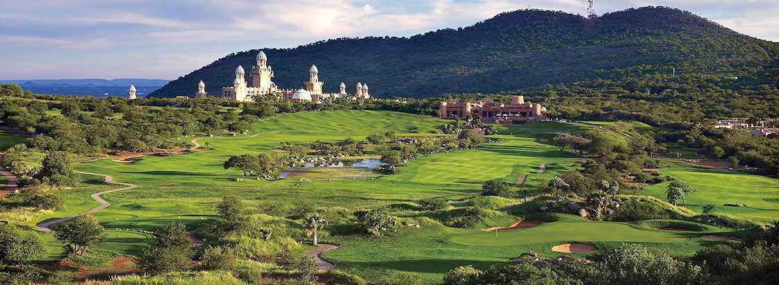 The Palace Hotel overlooks the sprawling Lost City Golf Course at Sun City.
