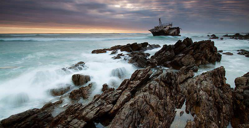 A shipwreck of the coast of Cape Agulhas.