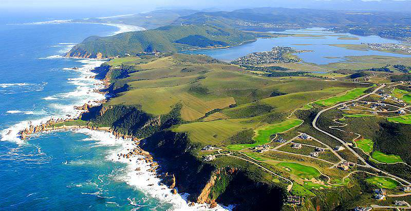 A dramatic aerial view of the Knysna Lagoon and the Heads.