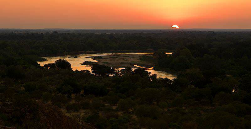 The sun sets over Mapungubwe and the Kolope River in Limpopo.
