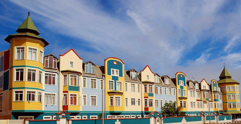 Colorful buildings in Namibia's seaside hamlet of Swakopmund.