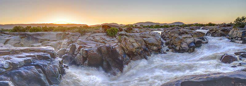 Sunset over the Augrabies Falls in the Augrabies National Park.
