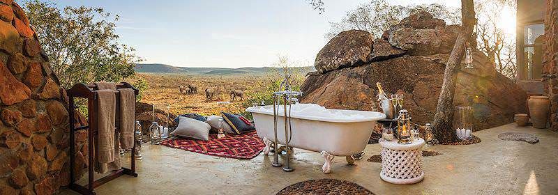 An open-air bath at Madikwe Hills in the Madikwe Game Reserve.