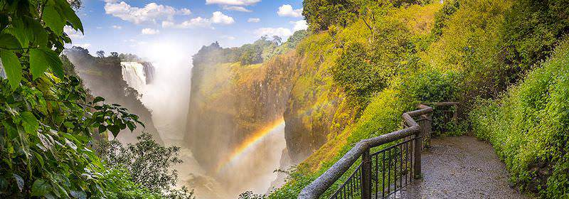 A striking vantage point of the Victoria Falls in the Mosi-oa-Tunya National Park.