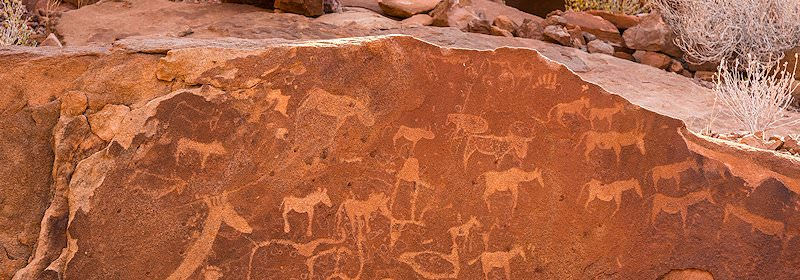 The iconic rock art engravings of Twyfelfontein in Namibia.