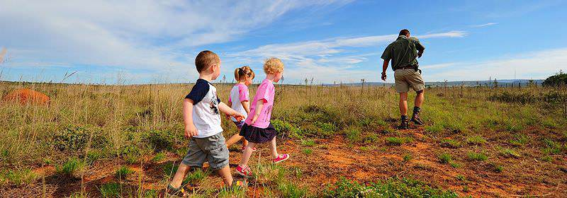 Children enjoy a safari experience in the Shamwari Private Game Reserve.