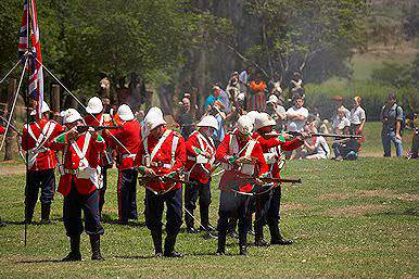 A reenactment of a battle on the KwaZulu-Natal Battlefields.