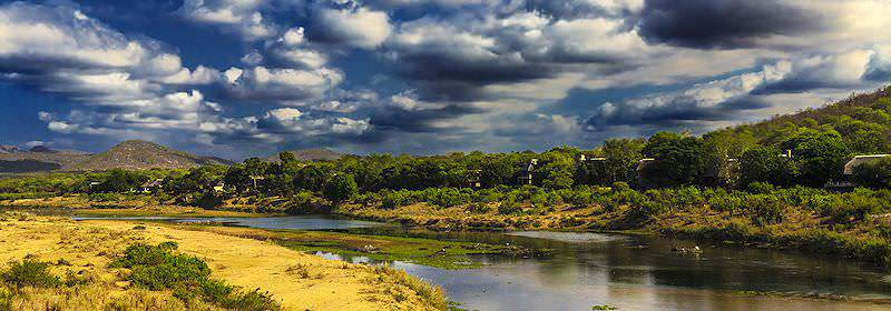 A lodge overlooks the Crocodile River on the southern border of the Kruger National Park.