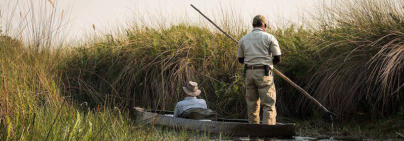 A guest enjoys a mokoro trip through the Okavango Delta.
