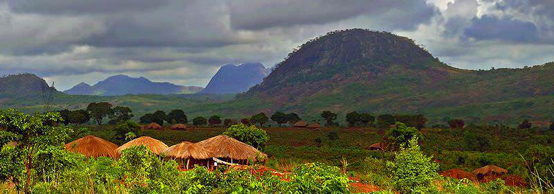 The typical rural scenery of inland Mozambique.