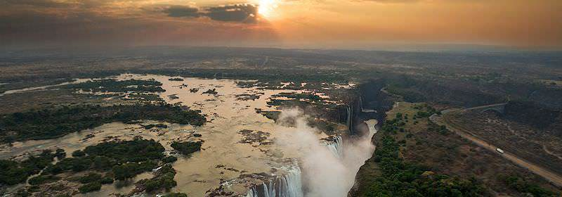 An awe-inspiring aerial perspective of the Victoria Falls.