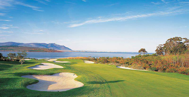 Arabella Golf Course overlooks the scenic Bot River Lagoon in South Africa's coastal Overberg region.