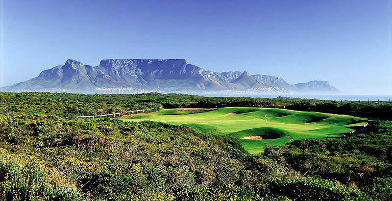 A round of golf at Atlantic Beach is enhanced by the exceptional view of Table Mountain across the bay.