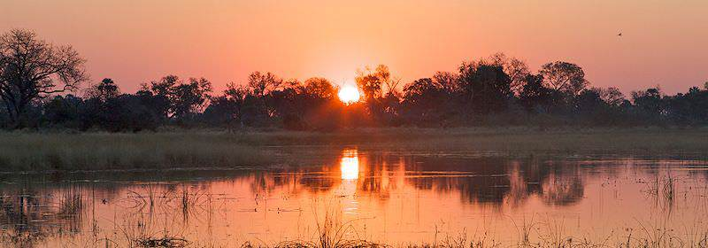 A striking African sunset in the Okavango Delta.