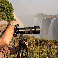 A photographer at the Victoria Falls.