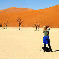 A photographer at Sossusvlei.