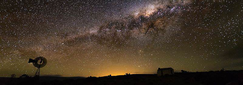 The starry night sky above the Karoo in South Africa.
